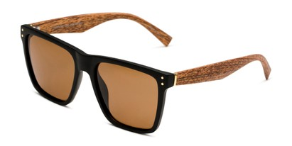 Angle of Derek in Black/Wood Frame with Amber Lenses, Men's Square Sunglasses
