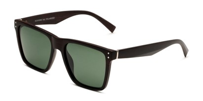 Angle of Derek in Brown Wood Frame with Green Lenses, Men's Square Sunglasses