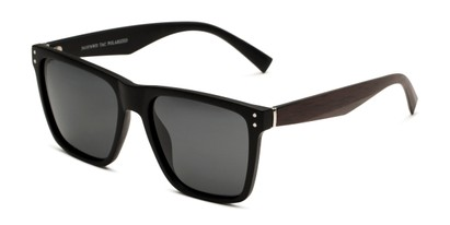 Angle of Derek in Black/Dark Wood Frame with Grey Lenses, Men's Square Sunglasses