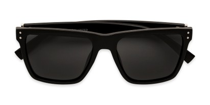 Folded of Derek in Black/Dark Wood Frame with Grey Lenses