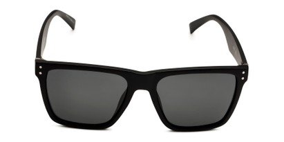 Front of Derek in Black/Dark Wood Frame with Grey Lenses