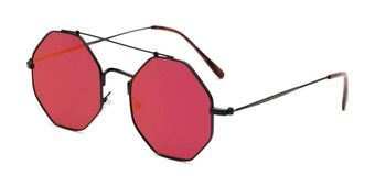 Angle of Dewey in Black Frame with Red Lenses, Women's Round Sunglasses