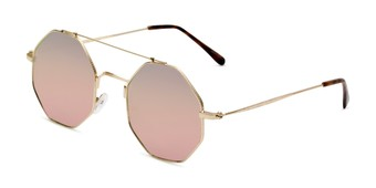 Angle of Dewey in Gold Frame with Pink Lenses, Women's Round Sunglasses