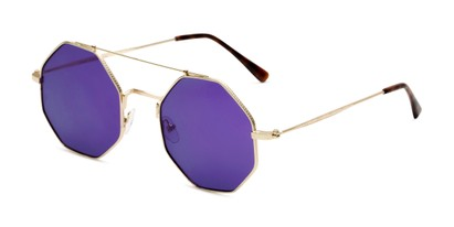 Angle of Dewey in Gold Frame with Purple Lenses, Women's Round Sunglasses