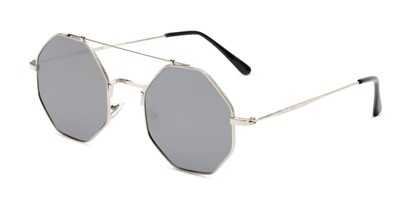 Angle of Dewey in Silver Frame with Silver Lenses, Women's Round Sunglasses