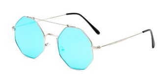 Angle of Dewey in Silver Frame with Blue Lenses, Women's Round Sunglasses