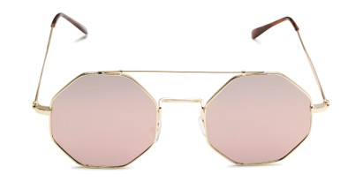 Front of Dewey in Gold Frame with Pink Lenses