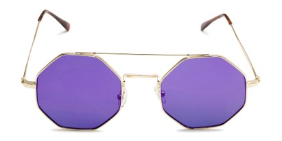 Front of Dewey in Gold Frame with Purple Lenses