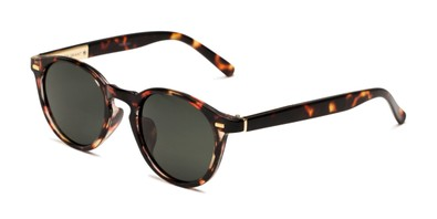 Angle of Easton by Foster Grant in Brown Tortoise Frame with Smoke Gradient Lenses, Women's Round Sunglasses