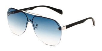 Angle of Ember in Silver/Black Frame with Blue Gradient Lenses, Women's and Men's Aviator Sunglasses