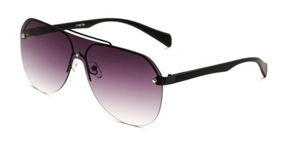 Angle of Ember in Black Frame with Smoke Gradient Lenses, Women's and Men's Aviator Sunglasses