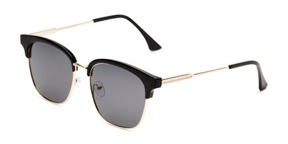 Angle of Everett in Black/Gold Frame with Smoke Lenses, Women's Browline Sunglasses
