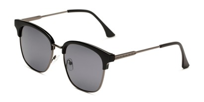 Angle of Everett in Black/Grey Frame with Smoke Lenses, Women's Browline Sunglasses