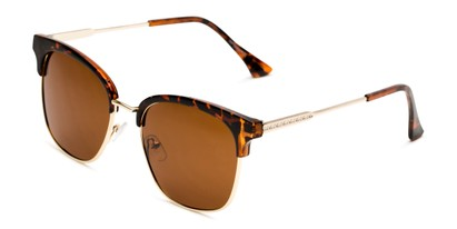 Angle of Everett in Tortoise/Gold Frame with Amber Lenses, Women's Browline Sunglasses