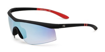 Angle of FGMSPT 2002 by Foster Grant in Black/Red Frame with Blue Mirrored Lenses, Men's Sport & Wrap-Around Sunglasses