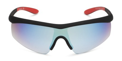 Front of FGMSPT 2002 by Foster Grant in Black/Red Frame with Blue Mirrored Lenses