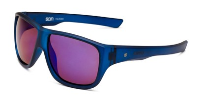 Angle of George by Scin in Blue Frame with Blue Mirrored Lenses, Men's Square Sunglasses