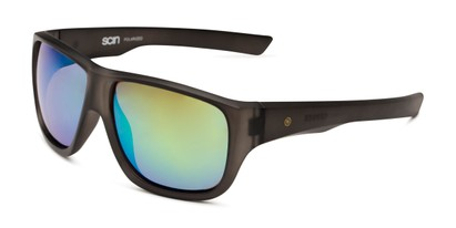 Angle of George by Scin in Grey Frame with Green Mirrored Lenses, Men's Square Sunglasses