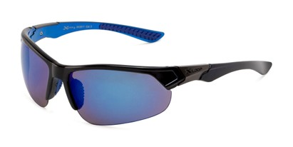 Angle of Grable in Black/Blue Frame with Blue Mirrored Lenses, Men's Sport & Wrap-Around Sunglasses