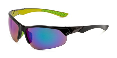 Angle of Grable in Black/Green Frame with Green/Blue Mirrored Lenses, Men's Sport & Wrap-Around Sunglasses