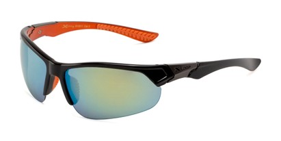 Angle of Grable in Black/Orange Frame with Yellow/Green Mirrored Lenses, Men's Sport & Wrap-Around Sunglasses