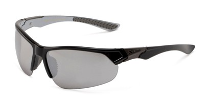 Angle of Grable in Black Frame with Silver Mirrored Lenses, Men's Sport & Wrap-Around Sunglasses