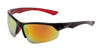 Angle of Grable in Black/Red Frame with Red/Orange Mirrored Lenses, Men's Sport & Wrap-Around Sunglasses