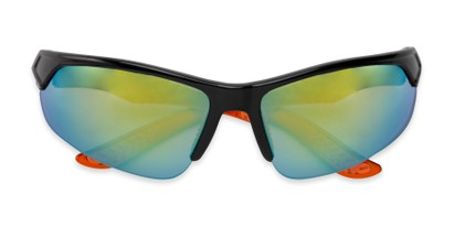 Folded of Grable in Black/Orange Frame with Yellow/Green Mirrored Lenses