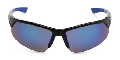 Front of Grable in Black/Blue Frame with Blue Mirrored Lenses