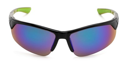 Front of Grable in Black/Green Frame with Green/Blue Mirrored Lenses