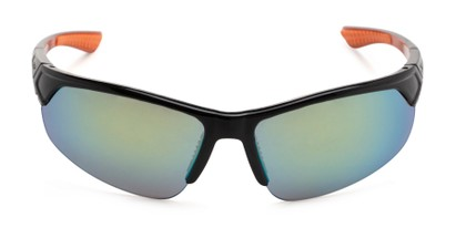 Front of Grable in Black/Orange Frame with Yellow/Green Mirrored Lenses