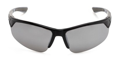 Front of Grable in Black Frame with Silver Mirrored Lenses