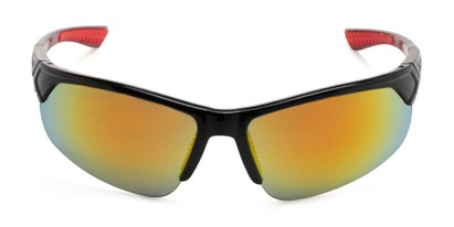Front of Grable in Black/Red Frame with Red/Orange Mirrored Lenses