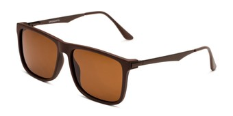 Angle of Grampian in Matte Brown Frame with Amber Lenses, Men's Square Sunglasses
