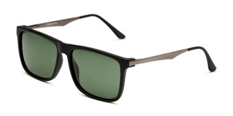 Angle of Grampian in Matte Black Frame with Green Lenses, Men's Square Sunglasses