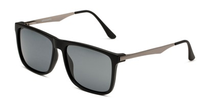 Angle of Grampian in Matte Black Frame with Smoke Lenses, Men's Square Sunglasses