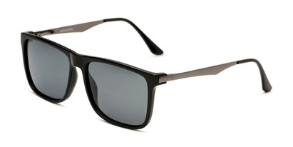 Angle of Grampian in Glossy Black Frame with Smoke Lenses, Men's Square Sunglasses