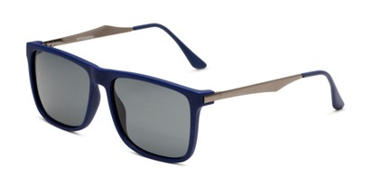 Angle of Grampian in Matte Blue Frame with Smoke Lenses, Men's Square Sunglasses