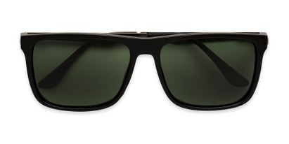 Folded of Grampian in Matte Black Frame with Green Lenses