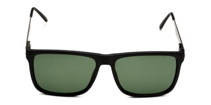 Front of Grampian in Matte Black Frame with Green Lenses