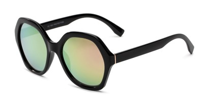 Angle of Harper in Black Frame with Pink Mirrored Lenses, Women's Round Sunglasses