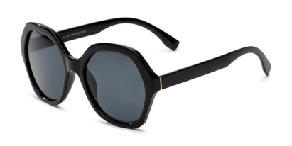 Angle of Harper in Black Frame with Smoke Lenses, Women's Round Sunglasses