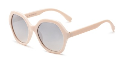 Angle of Harper in Light Pink Frame with Silver Mirrored Lenses, Women's Round Sunglasses
