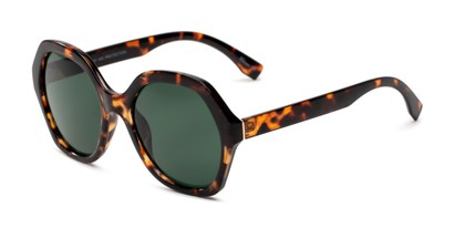 Angle of Harper in Tortoise Frame with Green Lenses, Women's Round Sunglasses