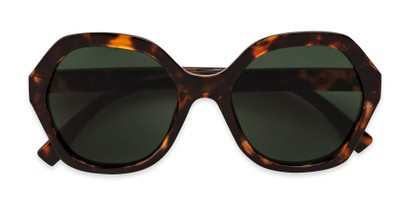 Folded of Harper in Tortoise Frame with Green Lenses