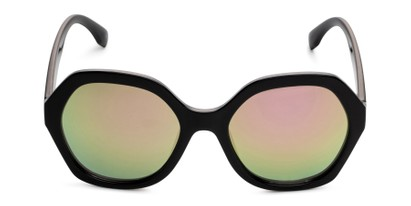 Front of Harper in Black Frame with Pink Mirrored Lenses