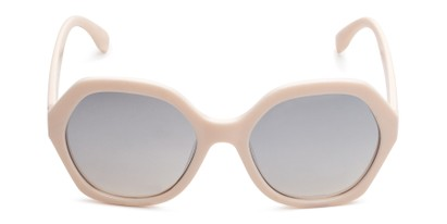 Front of Harper in Light Pink Frame with Silver Mirrored Lenses