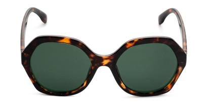 Front of Harper in Tortoise Frame with Green Lenses