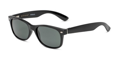 Angle of Hugo by Foster Grant in Black Frame with Smoke Lenses, Men's Retro Square Sunglasses