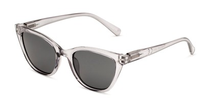 Angle of Jenny in Clear Grey Frame with Smoke Lenses, Women's Cat Eye Sunglasses